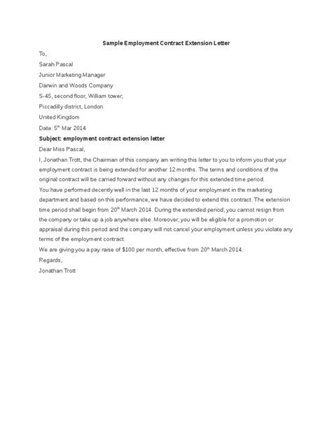 Work Contract Extension Letter Sle Sle Employment Contract Extension Letter Hashdoc