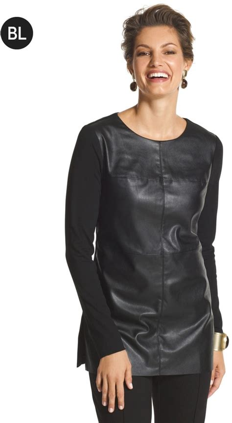 chico s chico s faux leather tunic