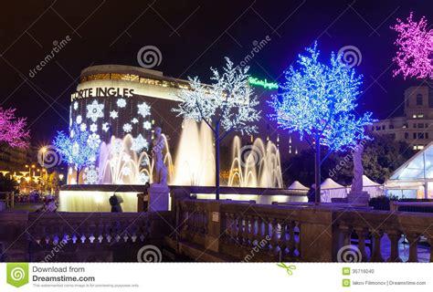 christmas decorations in spain decorations on placa de catalynia barcelona editorial image image 35716040