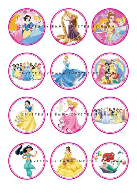 printable 12 mixed disney princess party cup cake toppers printable 12 mixed disney princess party cup cake toppers