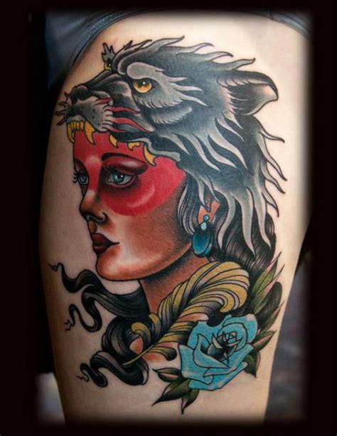 old school wolf tattoo school leg wolf by black 13
