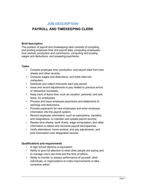 payroll and timekeeping clerk description template