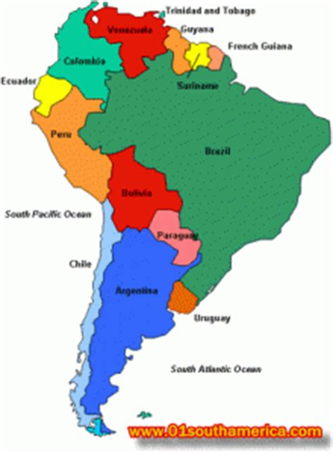 south america major cities map major cities and tourist destinations in south america for