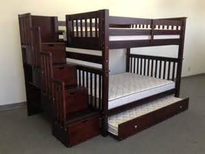 bunk beds with trundle and stairs bunk beds stairway cappuccino trundle