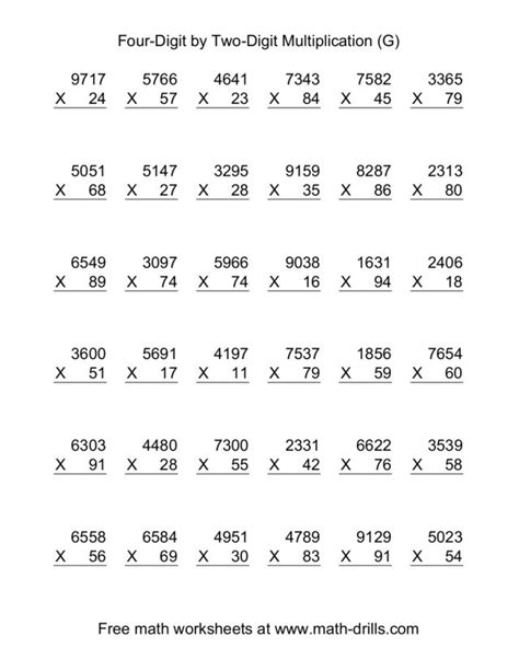 printable math worksheets double digit multiplication double digit multiplication worksheets with exles