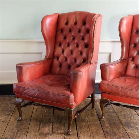 Red Leather Armchairs Red Leather Wingback Armchairs At 1stdibs