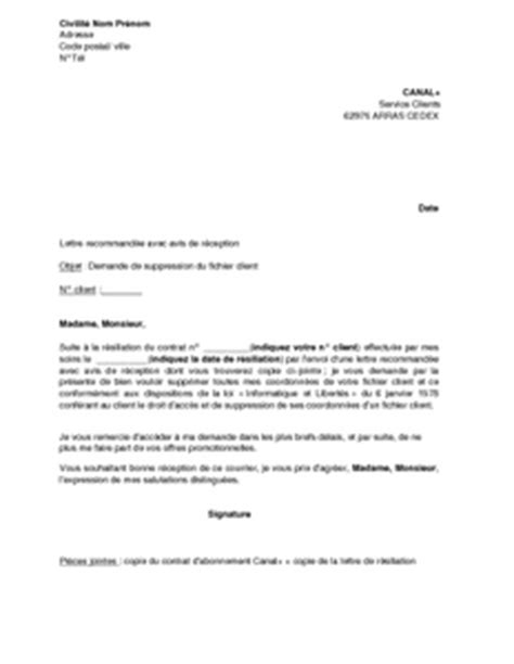 Resiliation Lettre Canal Plus adresse postale service client canal plus