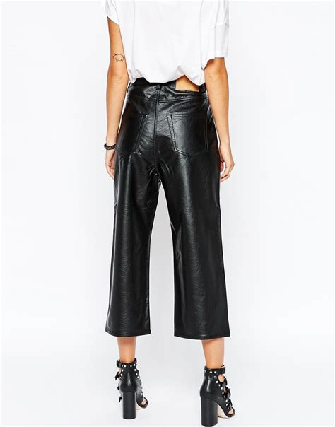 Cheap Faux Leather by Cheap Monday Wide Leg Crop Faux Leather Trousers At Asos