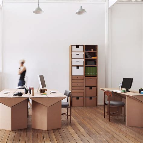cardboard standing desk office design idea and decor