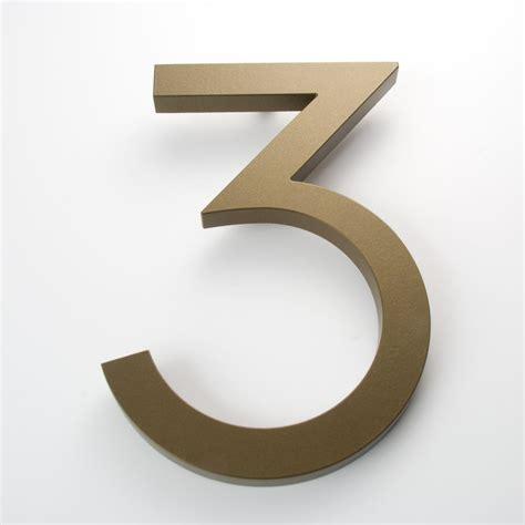number 3 typography modern house number bronze color aluminum modern font