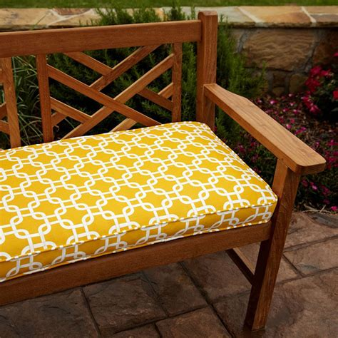 bench coushions penelope yellow 48 inch outdoor bench cushion