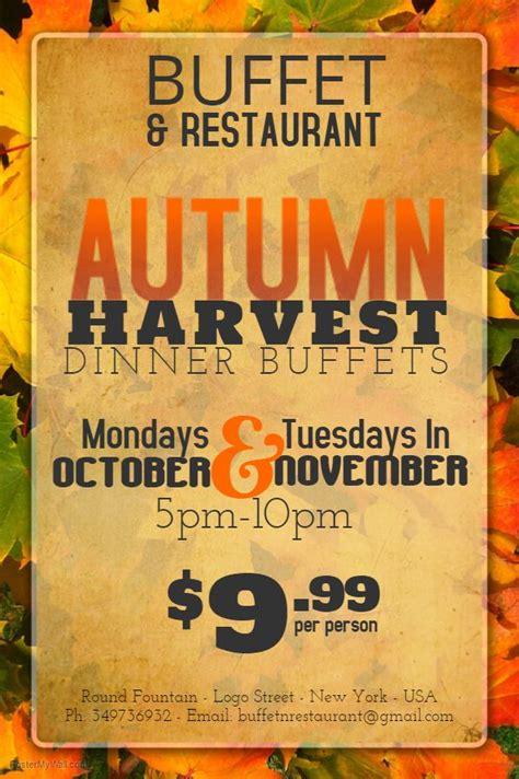 autumn harvest dinner flyer social media post design