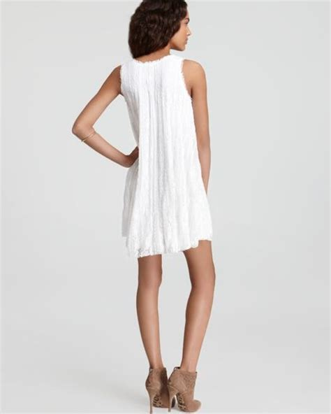 free people lace swing dress free people stripe lace swing dress in white ivory lyst