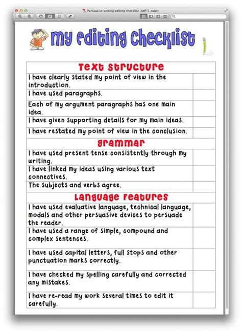 Editing Essay by Persuasive Writing Editing Checklist Product From Just Teach On Teachersnotebook School I