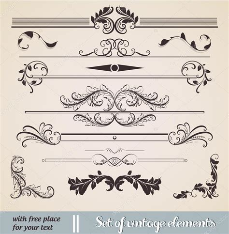 calligraphic design elements and page decoration vector set vector set calligraphic design elements and page