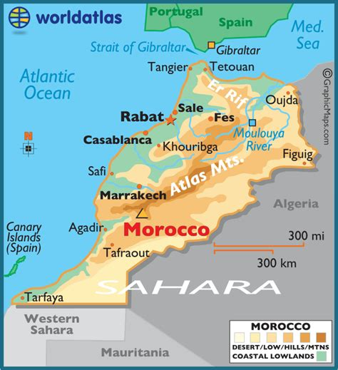world map of morocco morocco large color map
