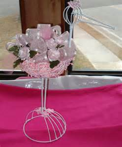 decorated wire stork for baby shower centerpiece pink