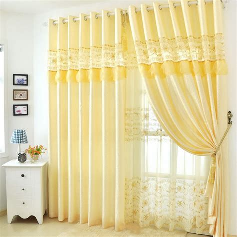 yellow floral curtains soft yellow lace floral patterned mission style curtains