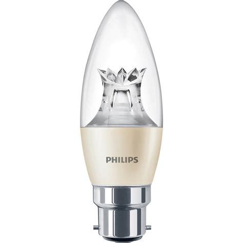 philips led warm glow dimmable candle l 6w bc b22d 470lm toolstation
