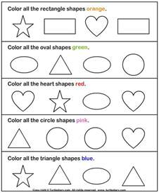 color shapes identify shapes worksheet1 and activities for