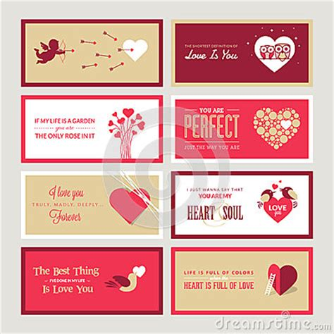 Free Valentines Day Card Templates For Photographers by Set Of Valentines Day Greeting Card Templates Royalty Free