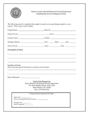 superior service application form community service paper print out for court fill