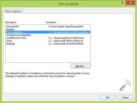custom word templates how to change custom office templates folder location in