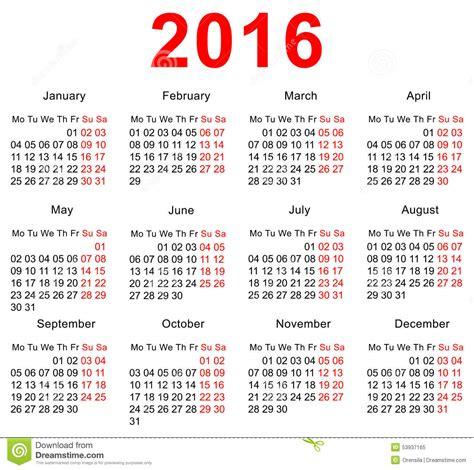 Calendario 2016 Con Las Semanas Plantilla De 2016 Calendarios Semanas Horizontales Primer