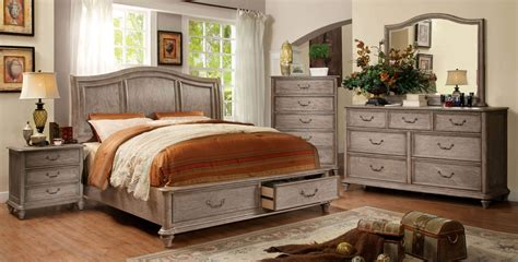 rustic bedroom sets 4 piece belgrade i platform rustic storage bedroom set cm7613