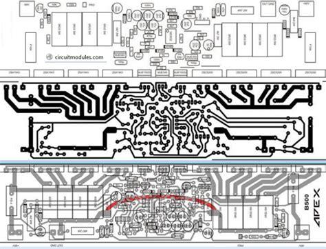 pcb 500w power lifier layout apex b500 electronic circuit
