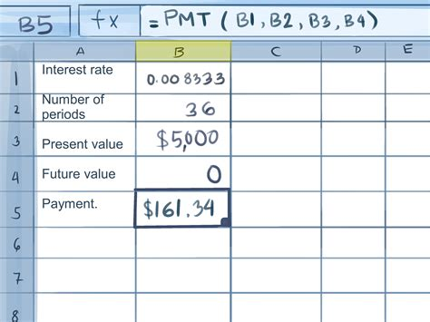 calculate credit card payments  excel  steps