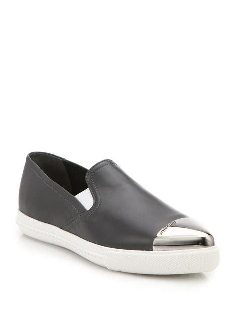 miu miu sneakers lyst miu miu leather cap toe slip on sneakers in gray