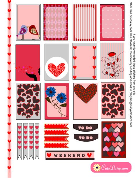 free printable valentines planner stickers planner stickers for valentine s day free printable