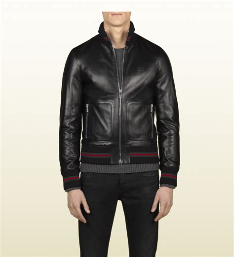 New Gucci Catur Kulit Leather Black gucci black leather bomber in black for lyst