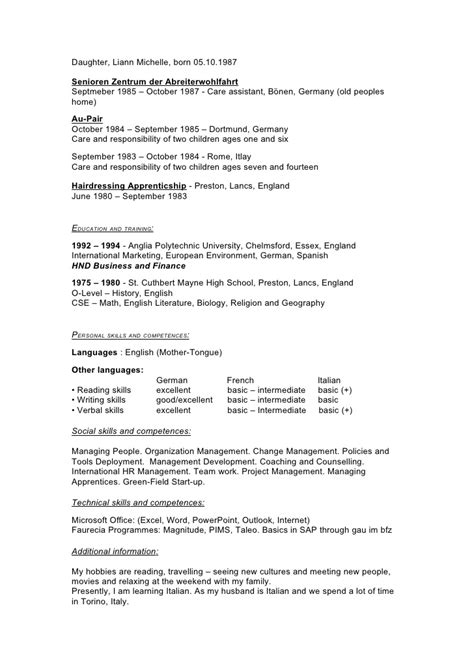 Cv In Au Pair Curriculum Vitae Version 2009