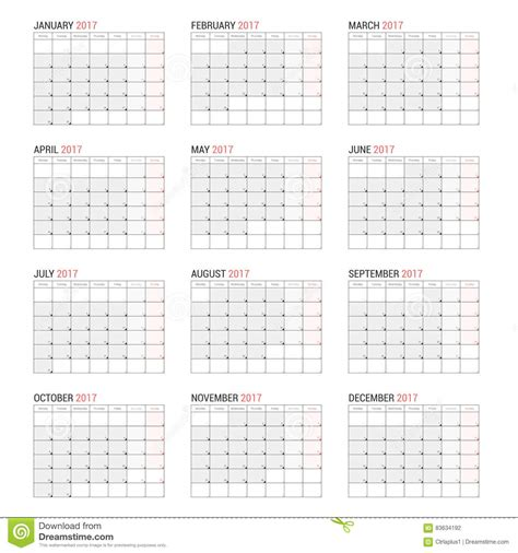 year calendar template yearly wall calendar planner template for 2017 year stock