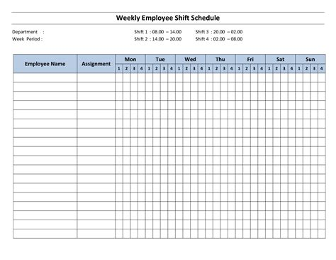download weekly employee shift schedule template excel