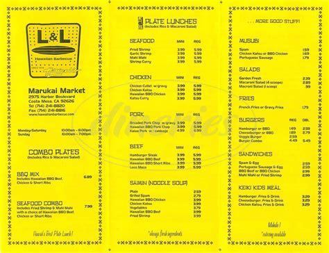The L Menu by L L Hawaiian Barbecue Menu Costa Mesa Dineries