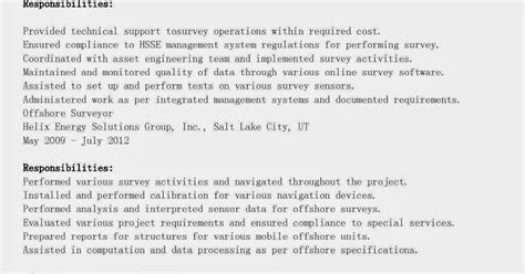 Resume Exle For Offshore Resume Sles Offshore Surveyor Resume Sle