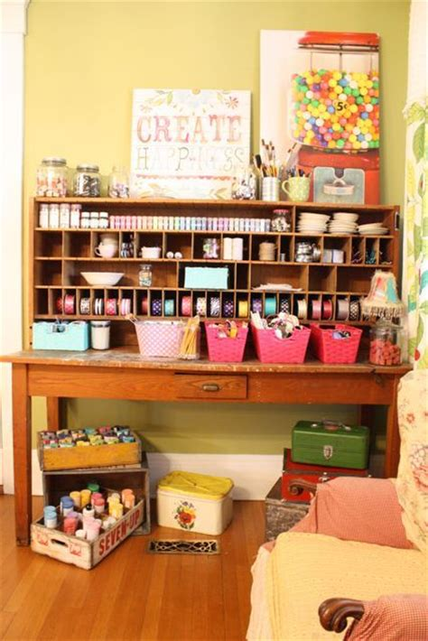 organized desk space desk organizing craft areas pinterest craft space craft storage and sewing room organization on