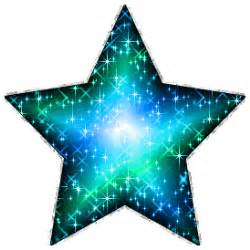 Large blue green glitter star with silver outline glitter graphic