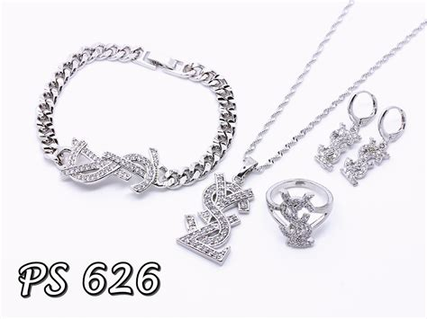 Set Perhiasan Xuping Ukir Bunga perhiasan set emas putih pusat perhiasan set
