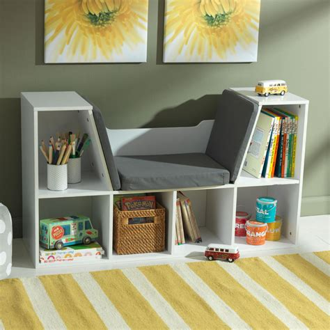 bookcase with reading nook white by kidkraft