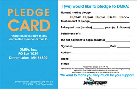 fundraising pledge card template donate detroit mountain