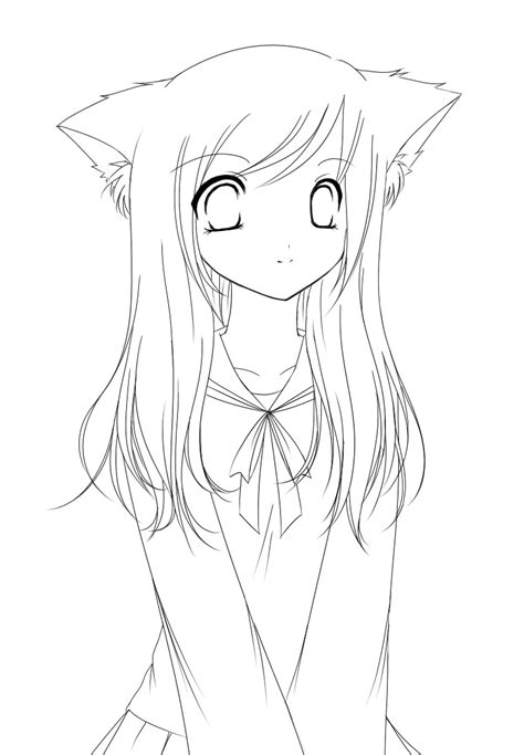 lineart cat girl by strawberrycake on deviantart