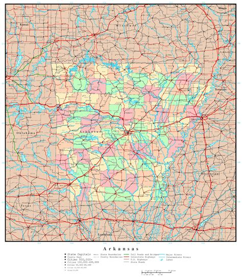map usa arkansas large detailed administrative map of arkansas state with