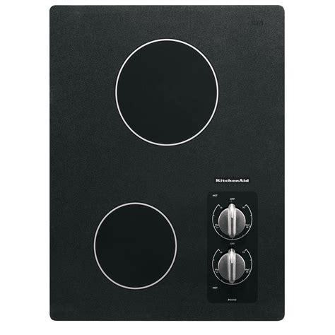 two burner cooktop kitchenaid kecc056rbl 15 quot electric 2 burner ceramic glass