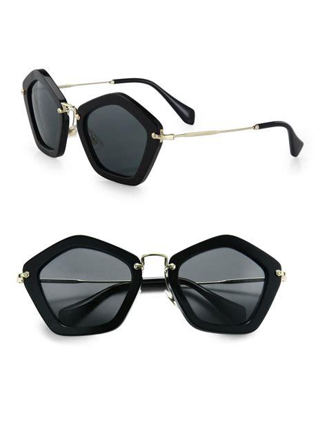 Miu Miu Kacamata Polarize Wanita lyst miu miu sunglasses in black