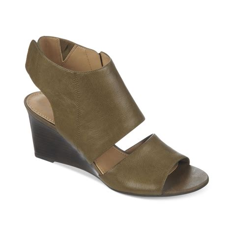 green wedge sandals franco sarto kressa wedge sandals in green olive lyst
