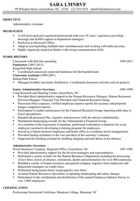 sample resume for administrative assistant with no experience